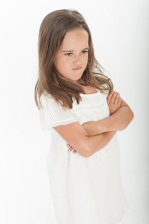 Little girl with angry expression