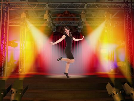limelight:  Woman in black dancing on a stage  Stock Photo
