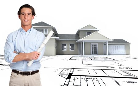 construction plan:   Young man with a roll of blueprints with a house and plans at the background  Stock Photo