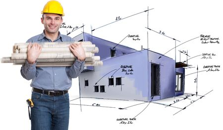 Young architect holding lots of blueprints with a house draft on the background  Stock Photo - 15812698
