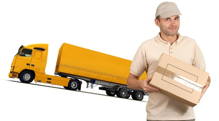 removal van:  Isolated image of a messenger delivering a box with a trailer truck in the background