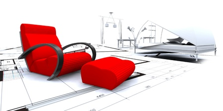 3D furniture in a blueprint interior