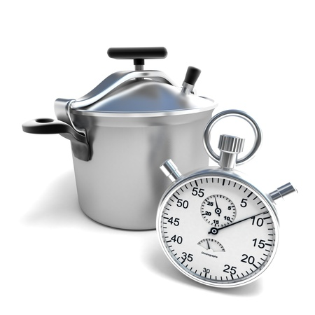 cooker:  3D rendering of a pressure cooker with a stopwatch