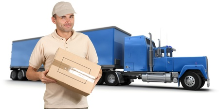moving van:  Isolated image of a messenger delivering a box with a trailer truck in the background