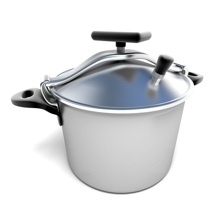 steam cooker:  3D rendering of a pressure cooker