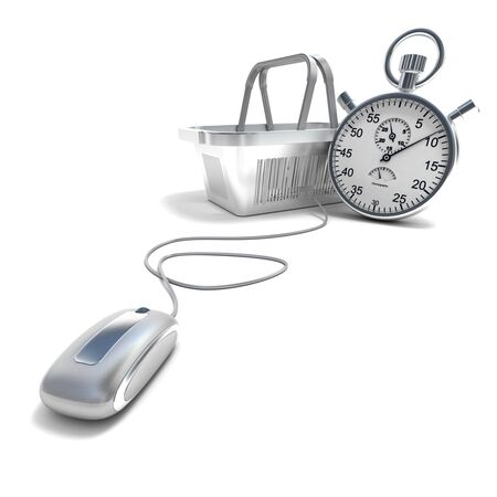 3D rendering of a shopping basket connected to a computer mouse with a timer Stock Photo - 15913819