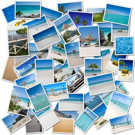 evoking: Collage of pictures evoking a trip to the Caribbean Stock Photo