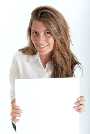 Young woman holding a blank square, perfect for inserting your own message photo