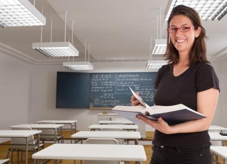 formulae:  Cheerful female teacher in a maths classroom