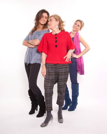 Senior woman posing with two young ones Stock Photo - 16007797