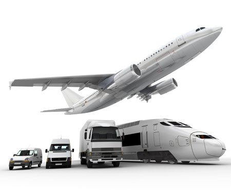goods train: 3D rendering of a flying plane, a truck, a lorry, a train and a cargo container