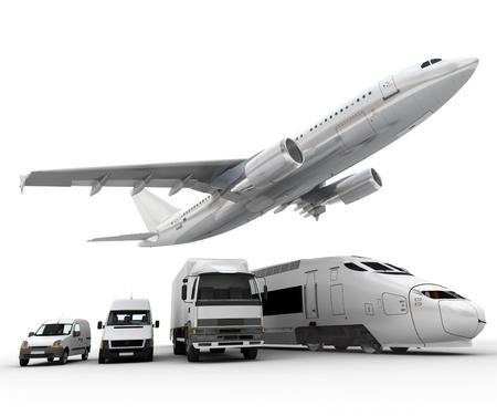 3D-rendering van een vliegende vliegtuig, een vrachtwagen, een vrachtwagen, een trein en een container Stockfoto