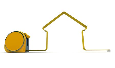 Measuring tape in the shape of a house photo