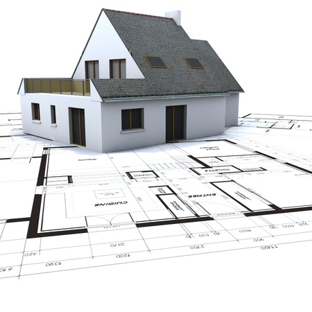 home building: Architectural model on top of architect s blueprints against a white background
