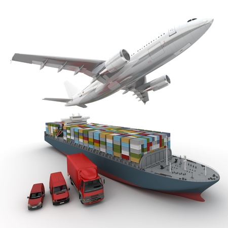 3D-Rendering von einem fliegenden Flugzeug, einem Lkw, einem Lastwagen und einem Frachtschiff Standard-Bild