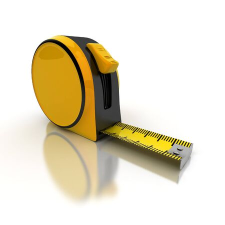 measure tape: Partially unrolled tape measure, 3D rendering Stock Photo