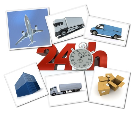 overnight: Collage of images related to urgent freight transportation