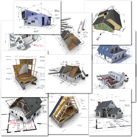 architecture project: Collage of construction and architecture renderings
