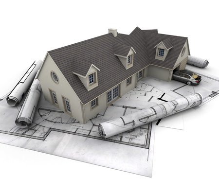 house top: 3D rendering of a house with garage on top of blueprints