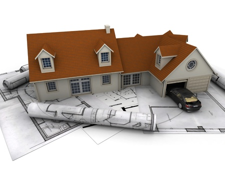 3D rendering of a house with garage on top of blueprints photo
