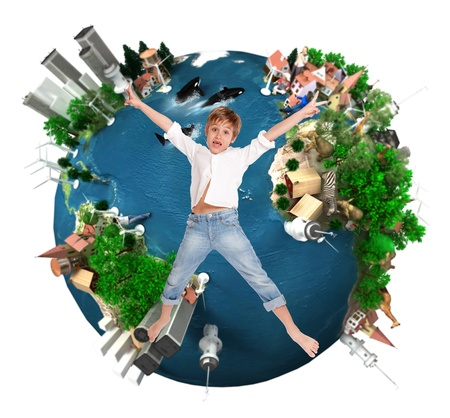 overpopulated:  Young boy flying over an environment oriented design of the Earth