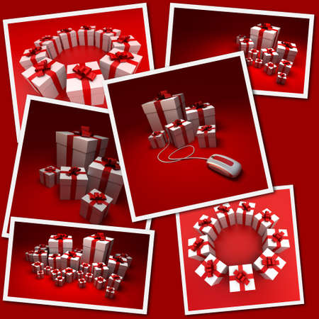 renderings: Collection of images with renderings of red and white presents