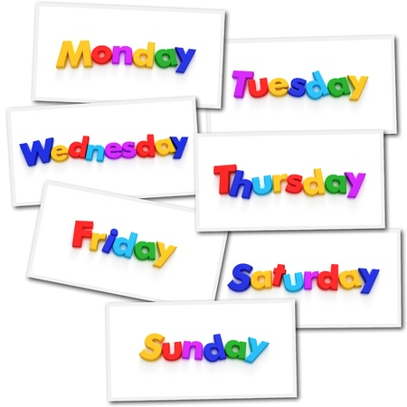 renderings: Collage of renderings with the days of the week in colorful letter magnets Stock Photo