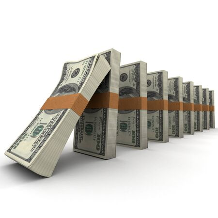 Domino effect with stacks of hundred dollar bills photo