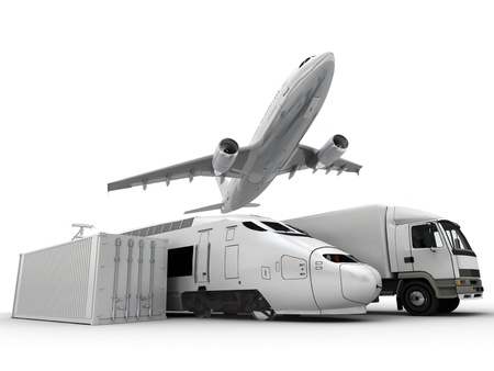 freight: 3D rendering of a flying plane, a truck, a lorry, a train and a cargo container