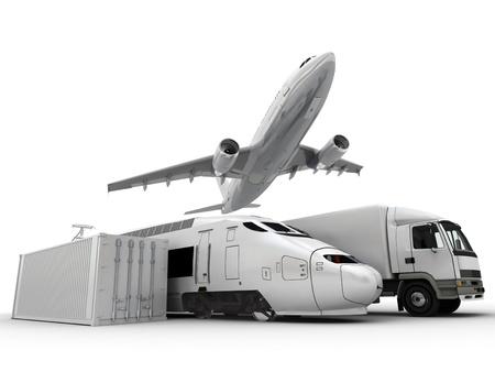 freight container: Representaci�n 3D de un avi�n que volaba, una camioneta, un cami�n, un tren y un contenedor de carga