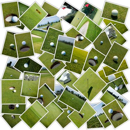 Collage with different golf  images photo