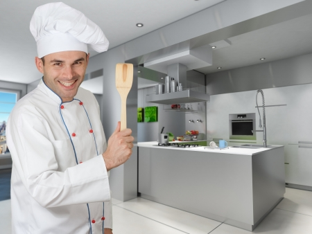 countertop:  Smiling chef holding a wooden spatula in a modern kitchen