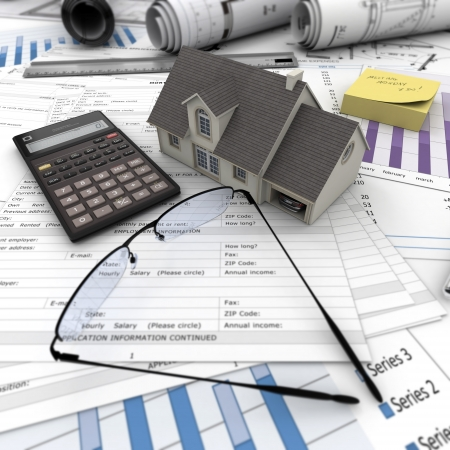 A house on top of a table with mortgage application form, calculator, blueprints, etc..  Stock Photo - 16036580