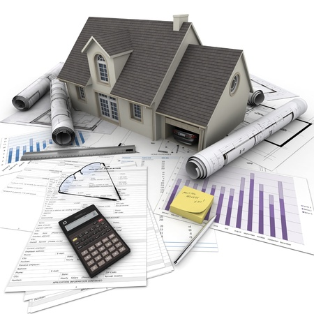 buying a house: A house on top of a table with mortgage application form, calculator, blueprints, etc