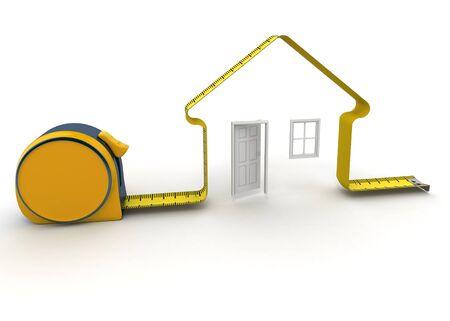 metro medir: Representación 3D de una cinta de medir en la forma de una casa