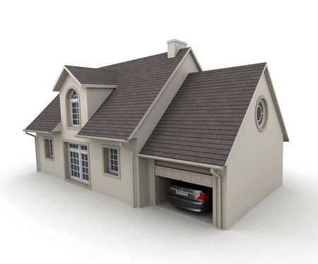 car in garage: 3D rendering of a house on a white background