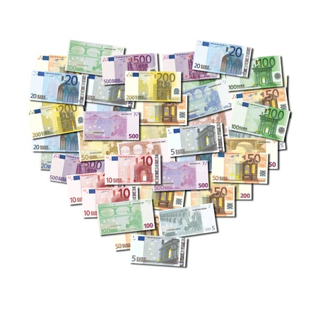 Heart shaped collage of Euro notes photo