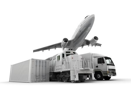 transport: 3D-Rendering von einem fliegenden Flugzeug, ein LKW, ein LKW, ein Zug und ein Fracht-Container