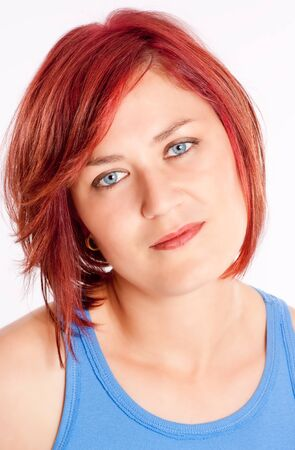Woman with blue eyes and red hair