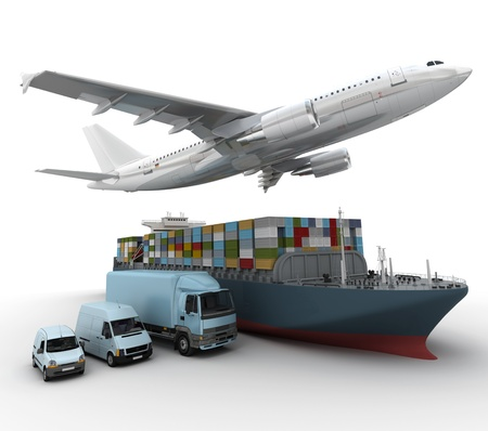 3D rendering of a flying plane, a truck, a lorry, and a freight ship  photo