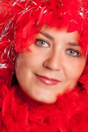 feather boa: Woman in party gear with feather boa Stock Photo