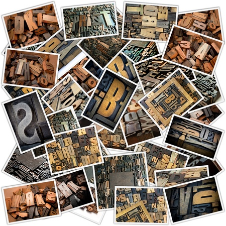 Collage with different photos of vintage wooden typescript letters Stock Photo - 16082391