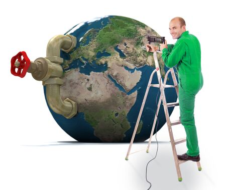 stopcock:   Image of a handyman with the Earth with a stopcock attached to it climbing on a ladder holding a drill