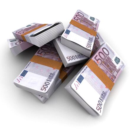Stacks of 500 Euros photo