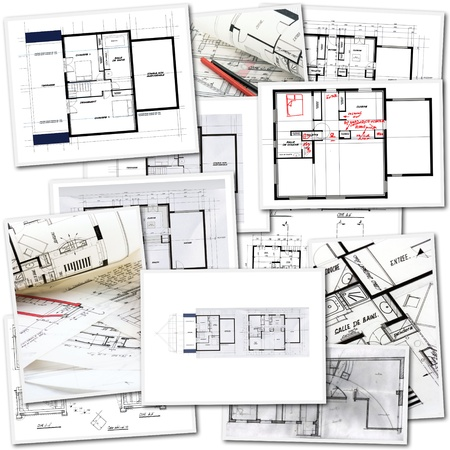 blueprints: Collage with blueprints in different creation stages