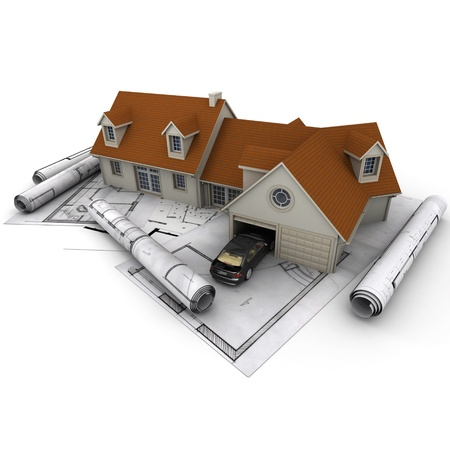 3D rendering of a house with garage on top of blueprints Stock Photo - 16087859