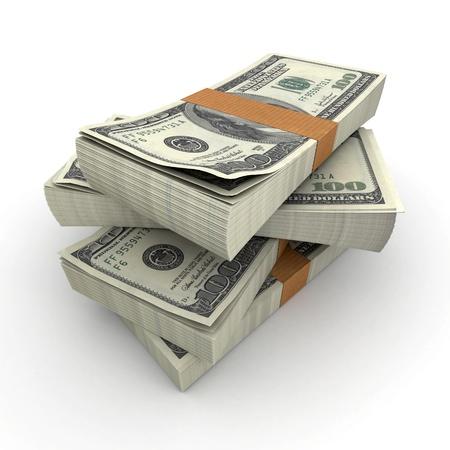 dollaro: Un sacco di pile di banconote da cento dollari Archivio Fotografico