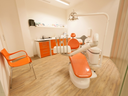 orthodontic: Modern orange dentist cabinet
