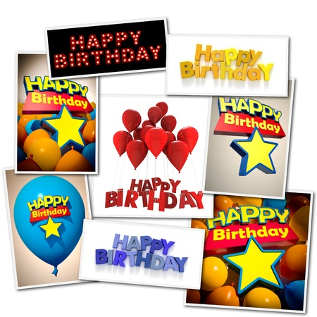 Collage made of different images with the message Happy Birthday photo
