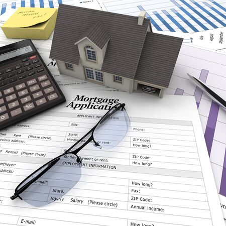 calculation: A house on top of a table with mortgage application form, calculator, blueprints, etc